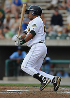 Outfielder L.V. Ware (24) of the Lynchburg Hillcats, Carolina League affiliate of the Atlanta Braves, in a game against the Wilmington Blue Rocks on June 15, 2011, at City Stadium in Lynchburg, Va. (Tom Priddy/Four Seam Images)
