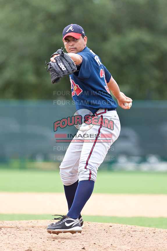 Williams Perez of the Gulf Coast League Braves during the game against the Gulf Coast League Tigers July 3 2010 at the Disney Wide World of Sports in Orlando, Florida.  Photo By Scott Jontes/Four Seam Images