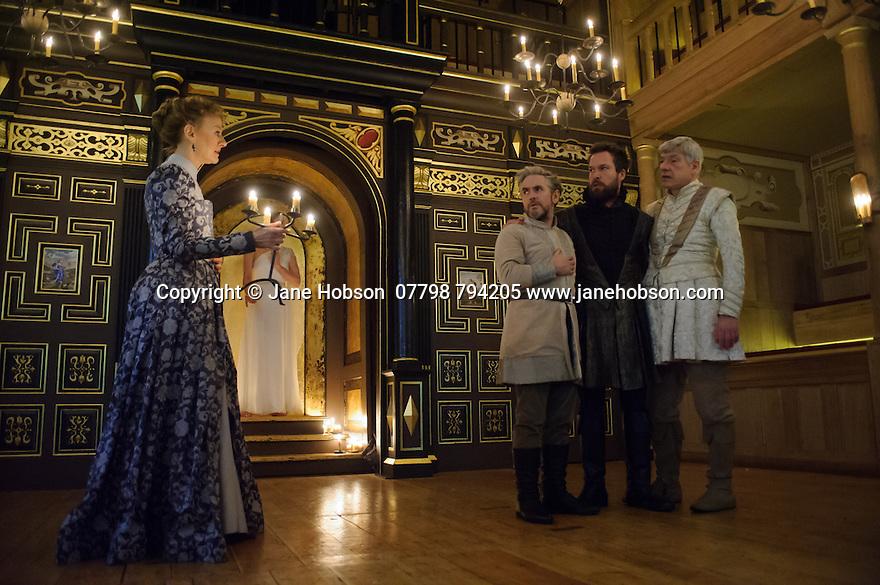 Shakespeare's Globe presents THE WINTER'S TALE, by William Shakespeare, in the Sam Wanamaker Playhouse. Picture shows: Niamh Cusack (Paulina), Fergal McElherron (Camillo), John Light (Antigonus), Simon Armstrong (Polixenes)