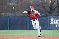 GREENSBORO, NC - FEBRUARY 25: Mike Becchetti #3 of Fairfield University throws to first base for an out during a game between Fairfield and UNC Greensboro at UNCG Baseball Stadium on February 25, 2020 in Greensboro, North Carolina.