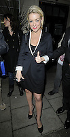 "SHERIDAN SMITH .Departed after the first preview performance of ""Flare Path"", Haymarket, London, England, UK, 4th March 2011..full length black dress white sleeves trim shoes coat hand thumb up gesture jacket blazer dress .CAP/CAN.©Can Nguyen/Capital Pictures."