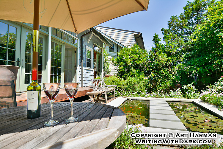 You'd like to spend an afternoon on this deck, right? I staged this with the wine to make it look especially appealing. That's the whole point of real estate photography. Make your property inviting.