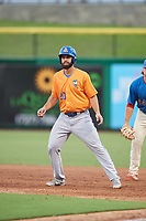 St. Lucie Mets right fielder Wuilmer Becerra (20) leads off first base during a game against the Clearwater Threshers on August 11, 2018 at Spectrum Field in Clearwater, Florida.  St. Lucie defeated Clearwater 11-0.  (Mike Janes/Four Seam Images)