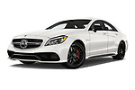 Stock pictures of low aggressive front three quarter view of 2018 Mercedes Benz CLS-Class AMG-CLS63-4MATIC 4 Door Sedan Low Aggressive