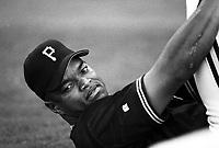 Al Martin of the Pittsburgh Pirates at Dodger Stadium in Los Angeles,California during the 1996 season. (Larry Goren/Four Seam Images)