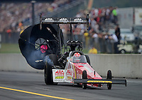Oct. 6, 2012; Mohnton, PA, USA: NHRA top fuel dragster driver Doug Kalitta during qualifying for the Auto Plus Nationals at Maple Grove Raceway. Mandatory Credit: Mark J. Rebilas-