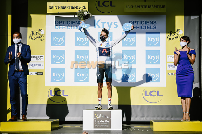 Egan Bernal (COL) Team Ineos Grenadiers retains the young riders White Jersey at the end of Stage 10 of Tour de France 2020, running 168.5km from Ile d'Oléron to Ile de Ré, France. 8th September 2020.<br /> Picture: ASO/Pauline Ballet | Cyclefile<br /> All photos usage must carry mandatory copyright credit (© Cyclefile | ASO/Pauline Ballet)