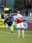 Nederland, Utrecht, 5 april 2015<br /> Eredivisie<br /> Seizoen 2014-2015<br /> FC Utrecht-Ajax (1-1)<br /> Yassin Ayoub van FC Utrecht begaat een overtreding op Davy Klaassen (r.) van Ajax