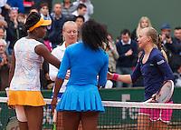 Paris, France, 29 June, 2016, Tennis, Roland Garros, Womans doubles: Kiki Bertens (NED) and her partner Johanna Larsson (SWE) (R) defeat the Williams sisters  <br /> Photo: Henk Koster/tennisimages.com