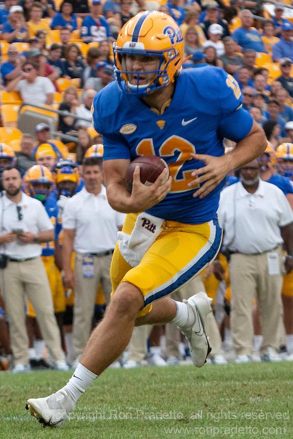 Pitt quarterback Nick Patti scores on a nine-yard touchdown run. The Pitt Panthers defeated the UMass Minutemen 51-7 on September 4, 2021 at Heinz Field, Pittsburgh, PA.