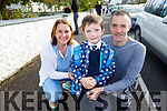 Luke O'Keefe on his first day at school in Abbeydorney NS on Tuesday with his parents Ann and Dan O'Keefe.