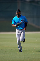 Miami Marlins Magneuris Sierra during a Minor League Spring Training Intrasquad game on March 28, 2019 at the Roger Dean Stadium Complex in Jupiter, Florida.  (Mike Janes/Four Seam Images)