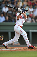 Right fielder Granger Studdard (35) of the Greenville Drive bats in a game against the Kannapolis Intimidators on Wednesday, July 12, 2017, at Fluor Field at the West End in Greenville, South Carolina. Greenville won, 12-2. (Tom Priddy/Four Seam Images)