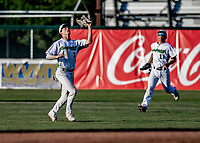 12 June 2021: Vermont Lake Monsters outfielder Andrew Bergeron, from Ponte Verda Beach, FL, pulls in a shallow fly ball during game action against the Westfield Starfires at Centennial Field in Burlington, Vermont. The Lake Monsters defeated the Starfires 4-1 at Centennial Field, in Burlington, Vermont. Mandatory Credit: Ed Wolfstein Photo *** RAW (NEF) Image File Available ***