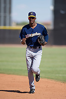Milwaukee Brewers outfielder Je'Von Ward (5) jogs off the field between innings during an Instructional League game against the San Diego Padres on September 27, 2017 at Peoria Sports Complex in Peoria, Arizona. (Zachary Lucy/Four Seam Images)