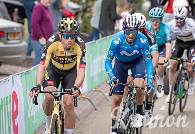 Wout van Aert (BEL/Jumbo-Visma) up the final ascent of the Geulhemmerberg, followed by Alejandro Valverde (ESP/Movistar)<br /> <br /> 55th Amstel Gold Race 2021 (1.UWT)<br /> 1 day race from Valkenburg to Berg en Terblijt; raced on closed circuit (NED/217km)<br /> <br /> ©kramon