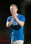 Dave Mackay Testimonial: St Johnstone v Dundee…06.10.17…  McDiarmid Park… <br />Nathan Lowndes applauds the saints fans<br />Picture by Graeme Hart. <br />Copyright Perthshire Picture Agency<br />Tel: 01738 623350  Mobile: 07990 594431