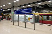 """Mit 9 Jahren Verspaetung wurde am 31. Oktober 2020 der Flughafen Berlin-Brandenburg BER in Schoenefeld eroeffnet.<br /> Im Bild: Der S-Bahnhof """"Flughafen BER - Terminal 1-2"""".<br /> 31.10.2020, Schoenefeld<br /> Copyright: Christian-Ditsch.de"""