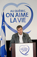 Montreal (QC)CANADA - October 11, 2008 -<br /> <br /> (Quebec New) Health Minister Yves Bolduc launch the new campaign ON QUEBEC ON AIME LA VIE, October 11 2008 at Jean-Talon Market located in his riding (Jean-Talon).<br /> <br /> Charest named Bolduc to the health portfolio earlier this year when then-health minister Philippe Couillard resigned and went on to join the private sector.