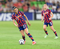 AUSTIN, TX - JUNE 16: Christen Press #23 of the United States brings the ball up the field during a game between Nigeria and USWNT at Q2 Stadium on June 16, 2021 in Austin, Texas.