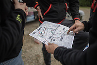 Team Trek-Segafredo preparing the 2017 Strade Bianche recon (the day before the race)