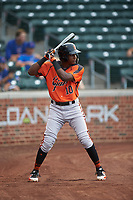 AZL Giants Orange Marco Luciano (10) on deck during an Arizona League game against the AZL Cubs 1 on July 10, 2019 at Sloan Park in Mesa, Arizona. The AZL Giants Orange defeated the AZL Cubs 1 13-8. (Zachary Lucy/Four Seam Images)