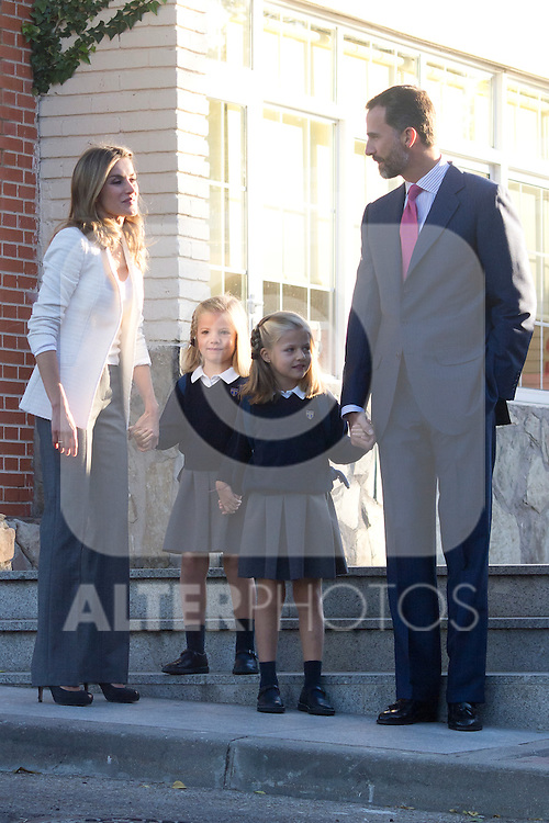 14.09.2012. Prince Felipe of Spain, Princess Letizia of Spain and their daughters Leonor and Sofia  arrive at 'Santa Maria de los Rosales' School in Aravaca near of Madrid, Spain. In the image (L-R) Princess Letizia, Sofia, Leonor and Prince Felipe (Alterphotos/Marta Gonzalez)