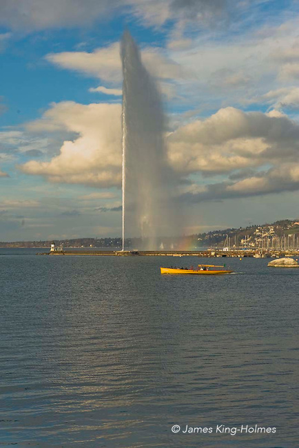 The Jet d'Eau in Geneva, Switzerland,  is the one of the largest fountains in the world reaching a height of approx 140 metres. It is situated on Lake Geneva and is one of the city's most famous landmarks.