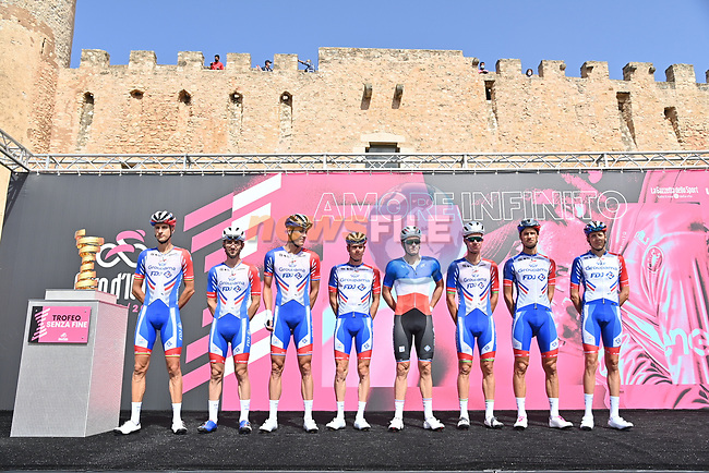 Groupama-FDJ at sign on before the start of Stage 2 of the 103rd edition of the Giro d'Italia 2020 running 149km from Alcamo to Agrigento, Sicily, Italy. 4th October 2020.  <br /> Picture: LaPresse/Gian Mattia D'Alberto | Cyclefile<br /> <br /> All photos usage must carry mandatory copyright credit (© Cyclefile | LaPresse/Gian Mattia D'Alberto)