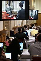 Quebec City, March 13, 2007 - Journalists watch the debate between Jean Charest, Mario Dumont and AndrÈ Boisclair at the National Assembly Tuesday, March 13, 2007. Quebecers will cast their vote on March 26.<br /> <br /> PHOTO :  Francis Vachon - Agence Quebec Presse