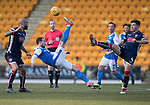 St Johnstone v Ross County…24.02.18…  McDiarmid Park    SPFL<br />Chris Kane clears from Chris Rowtis and Liam Fontaine<br />Picture by Graeme Hart. <br />Copyright Perthshire Picture Agency<br />Tel: 01738 623350  Mobile: 07990 594431