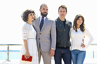 Olivia Ross, Tom Cullen, Simon Merrels et Sabrina Bartlett posent lors du photocall de KNIGHTFALL pendant le MIPTV a Cannes, le mardi 4 avril 2017.