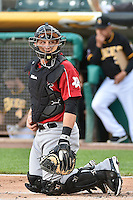 Tim Federowicz (23) of the Albuquerque Isotopes behind the plate during the game against the Salt Lake Bees at Smith's Ballpark on May 21, 2014 in Salt Lake City, Utah.  (Stephen Smith/Four Seam Images)
