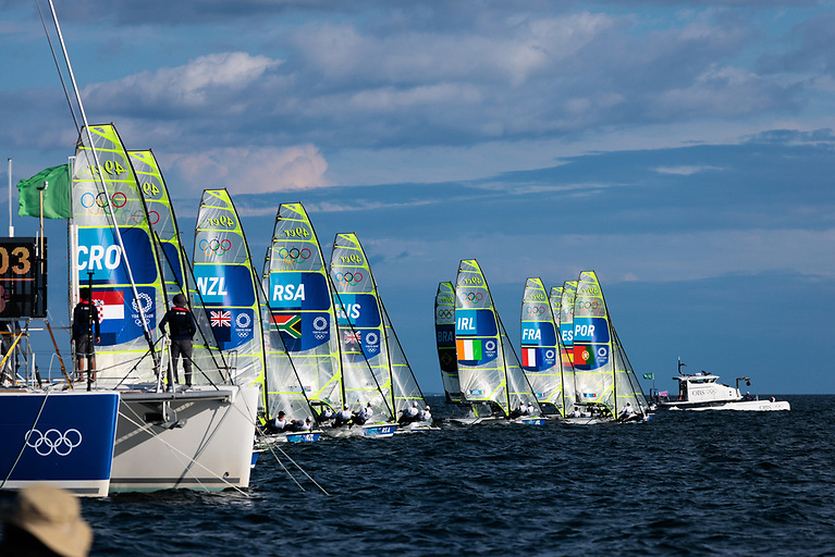 Robert Dickson and Sean Waddilove secured a mid-line front row start with plenty of clear air to blast off their Olympic Regatta