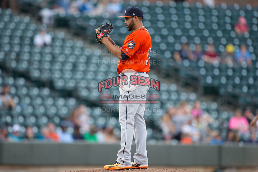 Buies Creek Astros starting pitcher Yoanys Quiala (52) looks to his catcher for the sign against the Winston-Salem Dash at BB&T Ballpark on April 15, 2017 in Winston-Salem, North Carolina.  The Astros defeated the Dash 13-6.  (Brian Westerholt/Four Seam Images)