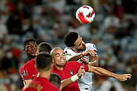 1st September 2021; Faro, Algarve, Portugal:  Irelands defender Andrew Omobamidele challenges with Portugals defender Pepe during the FIFA World Cup,  2022 European qualifying round group A football match in Faro, Portugal
