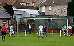 Burntisland Shipyard 0 Colville Park 7, 12/08/2017. The Recreation Ground, Scottish Cup First Preliminary Round. Ryan O'Donnell of Burntisland and Paul McLaughlin of Colville Park watch as the ball flies across the Burntisland six yard box before going out for a goal kick. Photo by Paul Thompson.