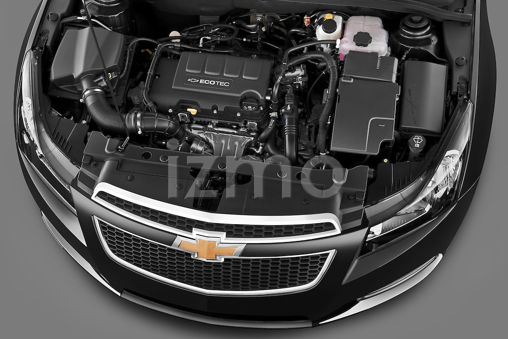High angle engine detail of a 2011 Chevrolet Cruze .