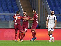Football, Serie A: AS Roma - Fiorentina, Olympic stadium, Rome, November 1, 2020. <br /> Roma's Leonardo Spinazzola (c) celebrates after scoring with his teammates  during the Italian Serie A football match between Roma and Fiorentina at Olympic stadium in Rome, on November 1, 2020. <br /> UPDATE IMAGES PRESS/Isabella Bonotto