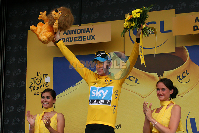 Bradley Wiggins (GBR) Sky Procycling retains the leaders Yellow Jersey at the end of Stage 12 of the 99th edition of the Tour de France 2012, running 148km from Saint-Jean-de-Maurienne to Annonay-Davezieux, France. 13th July 2012.<br /> (Photo by Thomas van Bracht/NEWSFILE)