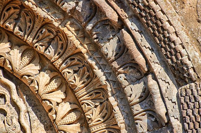 Detail of the archivolts of the  side portal of the Basilica Church of Santa Maria Maggiore, Tuscania