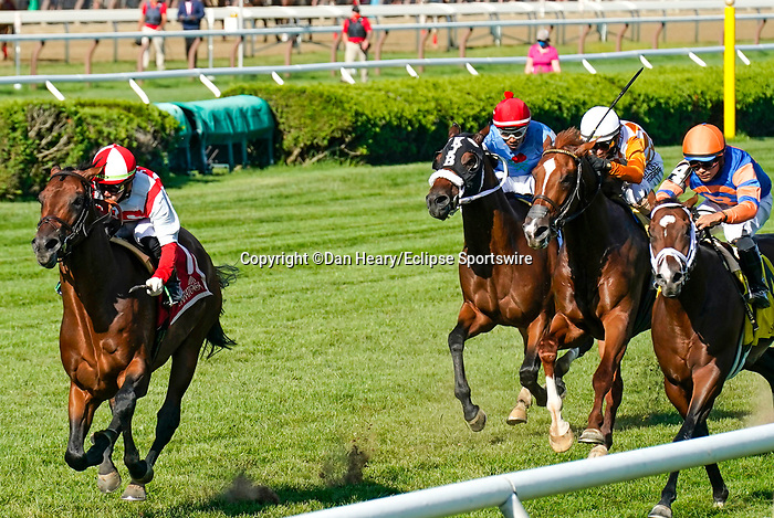 September 04, 2021: Public Sector (GB) #1, ridden by jockey Irad Ortiz Jr. win the Grade 3 Saranac Stakes on the turf at Saratoga Race Course in Saratoga Springs, N.Y. on September 4th, 2021. Dan Heary/Eclipse Sportswire/CSM