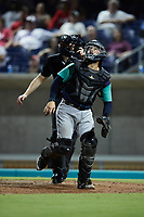 Lynchburg Hillcats catcher Micael Ramirez (8) tracks a pop fly during the game against the Kannapolis Cannon Ballers at Atrium Health Ballpark on August 28, 2021 in Kannapolis, North Carolina. (Brian Westerholt/Four Seam Images)
