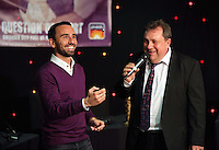Pictured: Leon Britton tossing a coin next to Kev Johns Thursday 08 April 2016<br />Re: Zimkids dinner at the Liberty Stadium, Swansea, UK