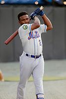 Kingsport Mets infielder Luis Santana (2) before a game against the Burlington Royals at Burlington Athletic Complex on July 28, 2018 in Burlington, North Carolina. Burlington defeated Kingsport 4-3. (Robert Gurganus/Four Seam Images)