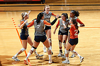 SAN ANTONIO, TX - OCTOBER 13, 2017: The University of Texas at San Antonio Roadrunners defeat the Middle Tennessee State University Blue Raiders 3-1 (21-25, 25-22, 25-16, 25-15) at the UTSA Convocation Center. (Photo by Jeff Huehn)