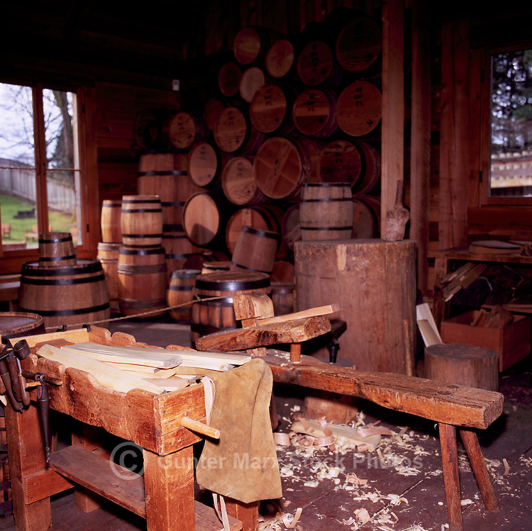 Fort Langley National Historic Site, BC, British Columbia, Canada - Barrel Making in the Cooperage.  Fort Langley was founded in 1827 as a Hudson's Bay Company Trading Post.