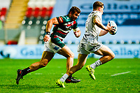 21st November 2020; Welford Road Stadium, Leicester, Midlands, England; Premiership Rugby, Leicester Tigers versus Gloucester Rugby; Jaco Taute of Leicester Tigers chases down Jason Woodward of Gloucester Rugby