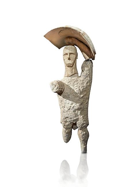 9th century BC Giants of Mont'e Prama  Nuragic stone statue of a boxer, Mont'e Prama archaeological site, Cabras. 2014 excavation. Civico Museo Archeologico Giovanni Marongiu - Cabras, Sardinia. White background