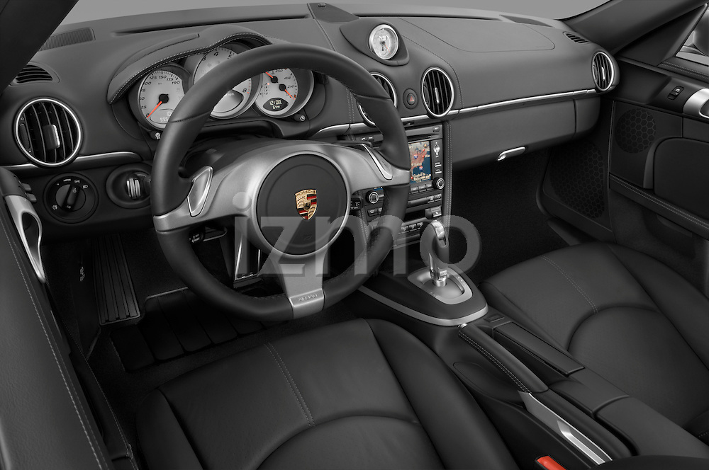 High angle dashboard view of a 2009 Porsche Cayman S